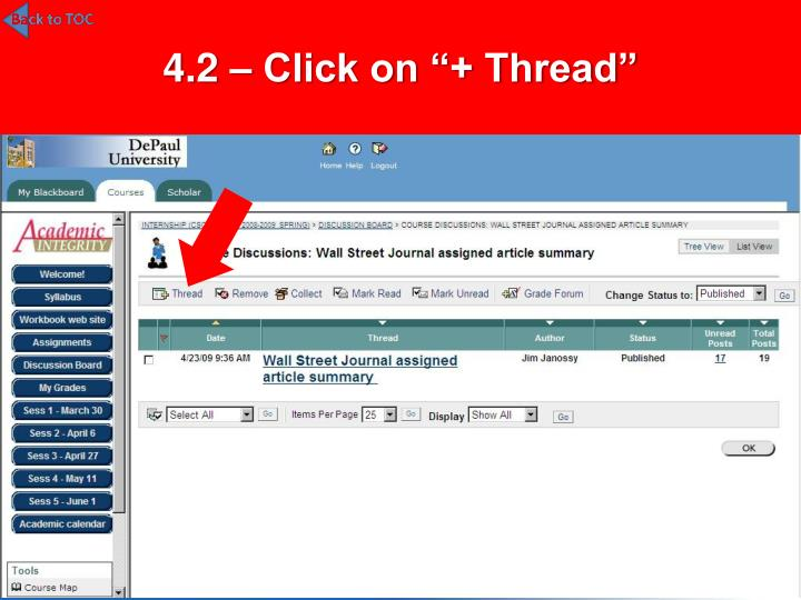 "4.2 – Click on ""+ Thread"""