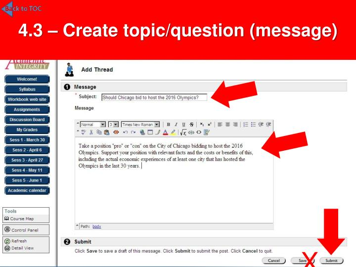 4.3 – Create topic/question (message)