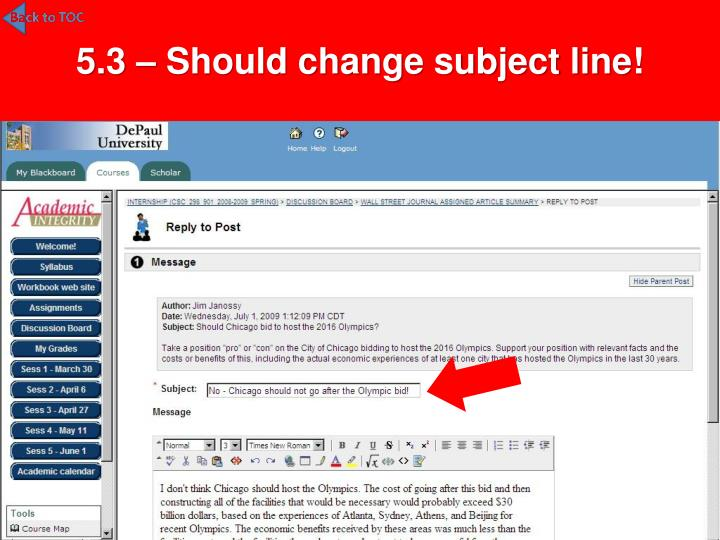 5.3 – Should change subject line!