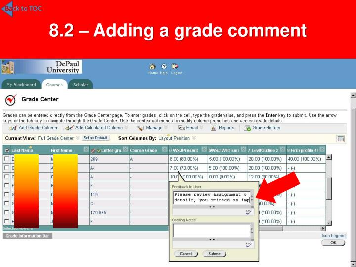 8.2 – Adding a grade comment