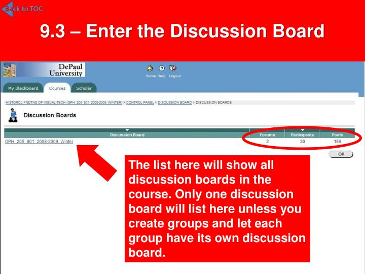 9.3 – Enter the Discussion Board