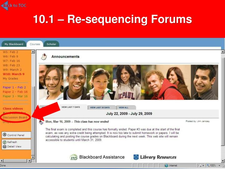 10.1 – Re-sequencing Forums