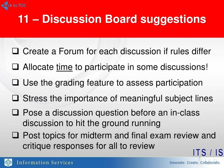 11 – Discussion Board suggestions