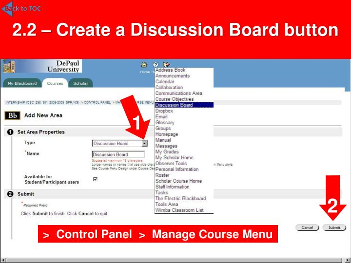 2.2 – Create a Discussion Board button