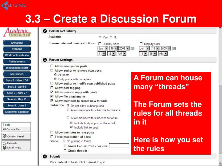 3.3 – Create a Discussion Forum