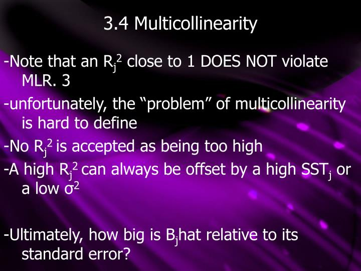 3.4 Multicollinearity