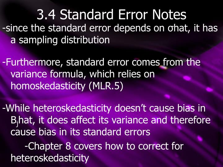 3.4 Standard Error Notes