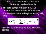 3 4 the components of the ols variances multicollinearity1