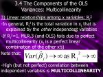 3 4 the components of the ols variances multicollinearity3