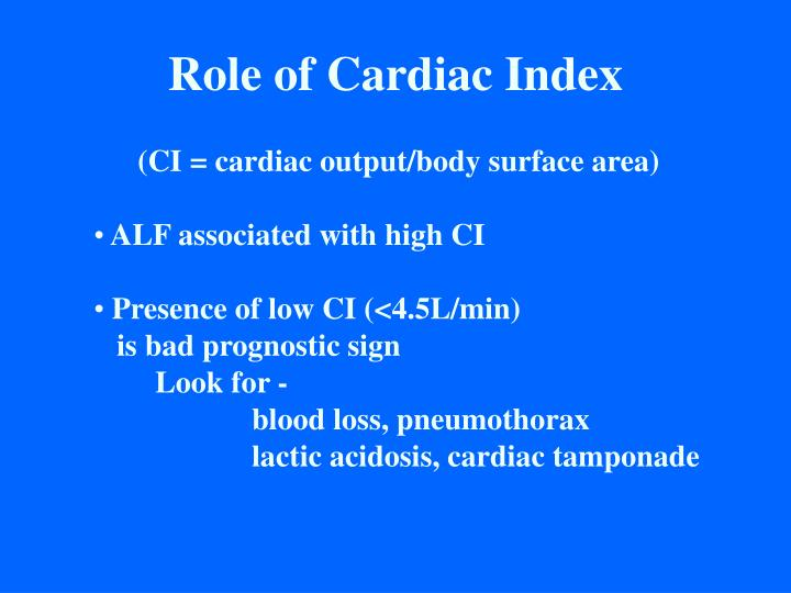 Role of Cardiac Index
