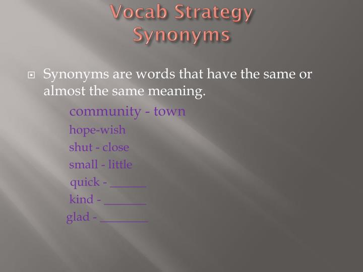 Vocab strategy synonyms