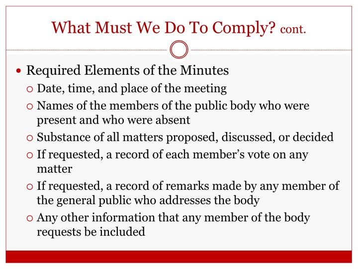What Must We Do To Comply?