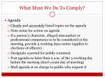 what must we do to comply