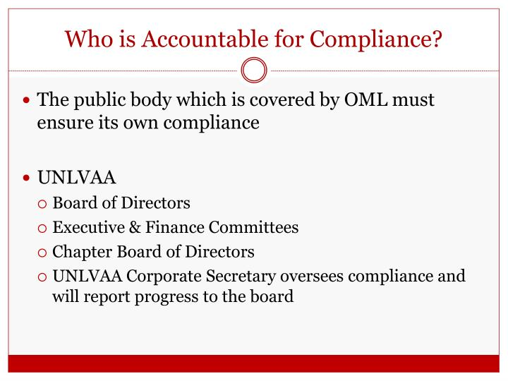 Who is Accountable for Compliance?