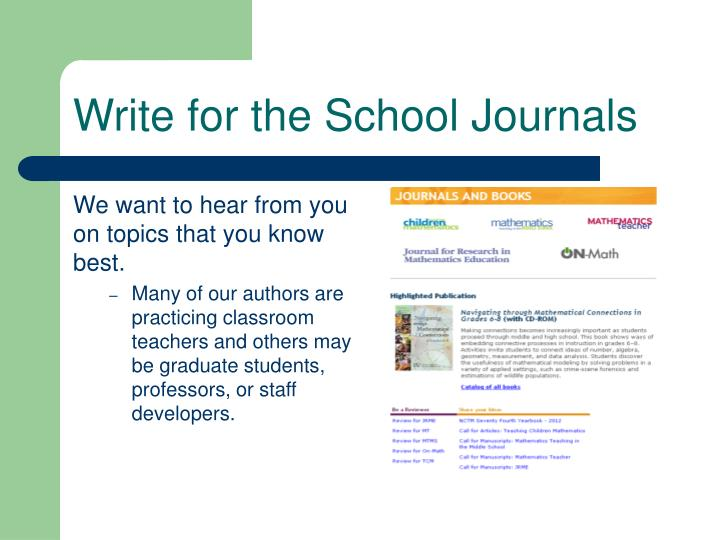 Write for the School Journals