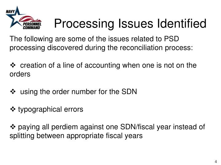 Processing Issues Identified