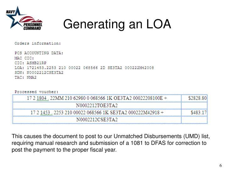 Generating an LOA