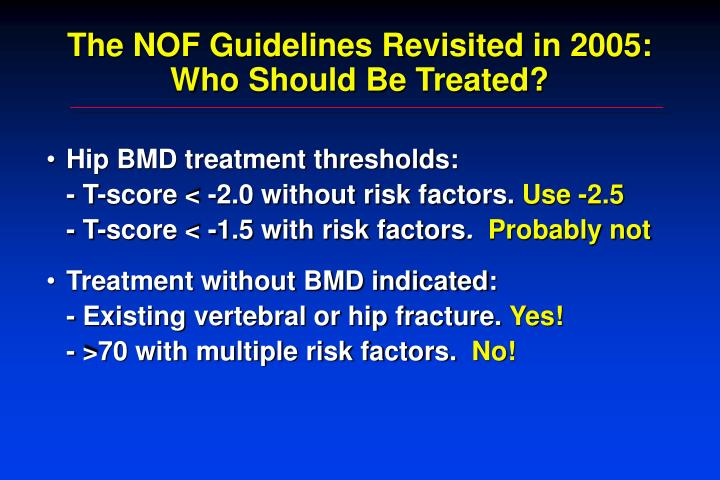 The NOF Guidelines Revisited in 2005: