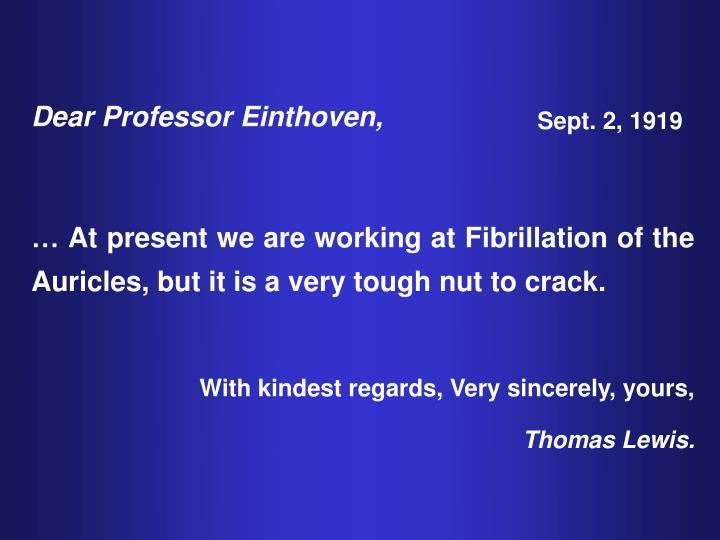 Dear Professor Einthoven,
