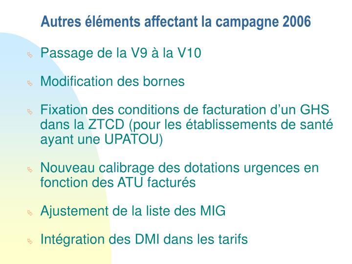 Autres éléments affectant la campagne 2006