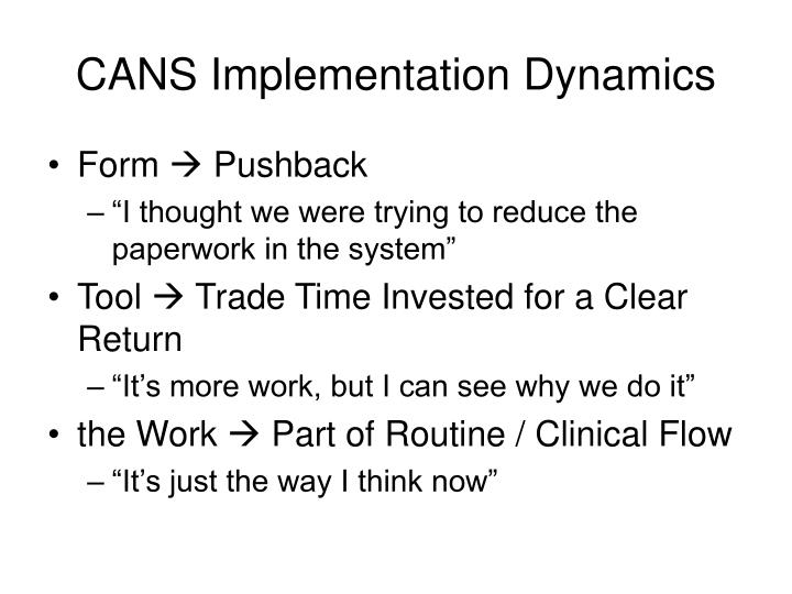 CANS Implementation Dynamics