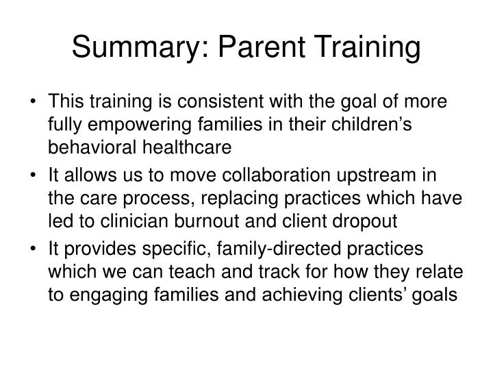 Summary: Parent Training