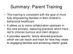 summary parent training