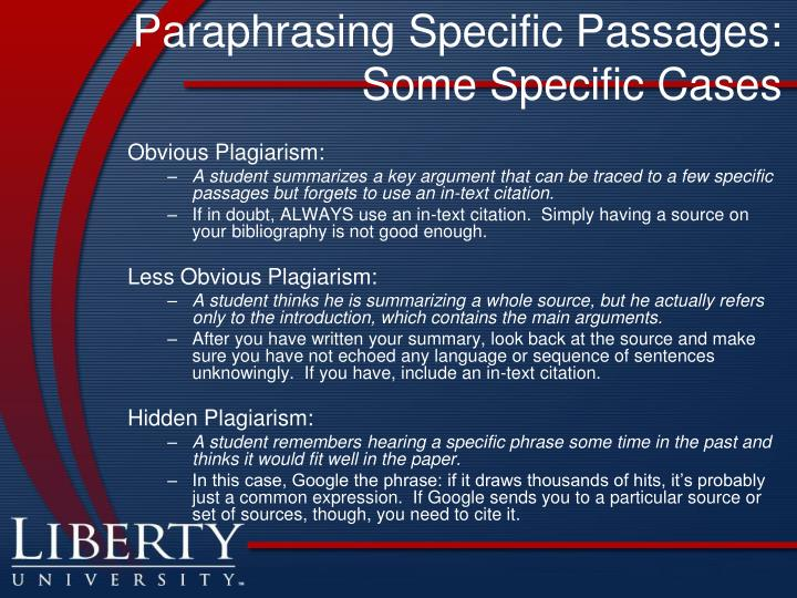 Paraphrasing Specific Passages: