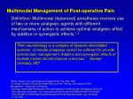 multimodal management of post operative pain
