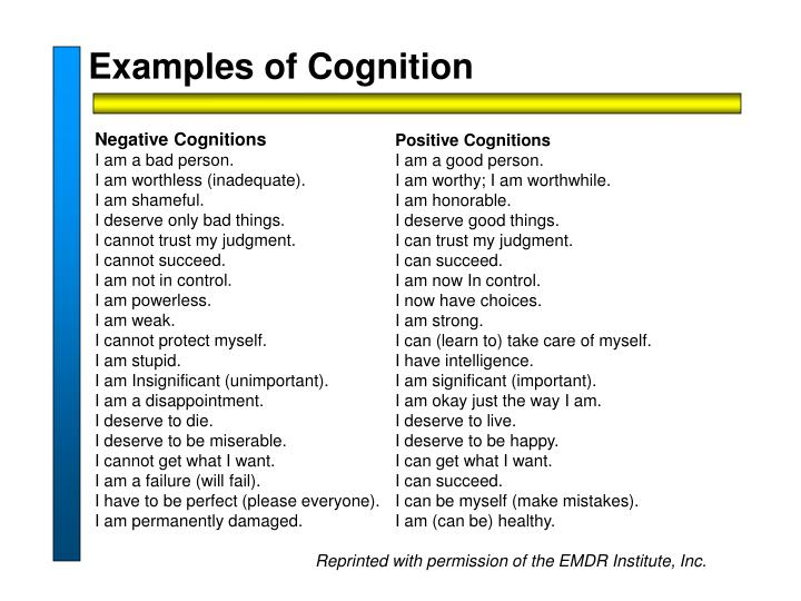 Examples of Cognition