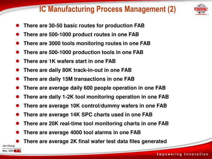 There are 30-50 basic routes for production FAB