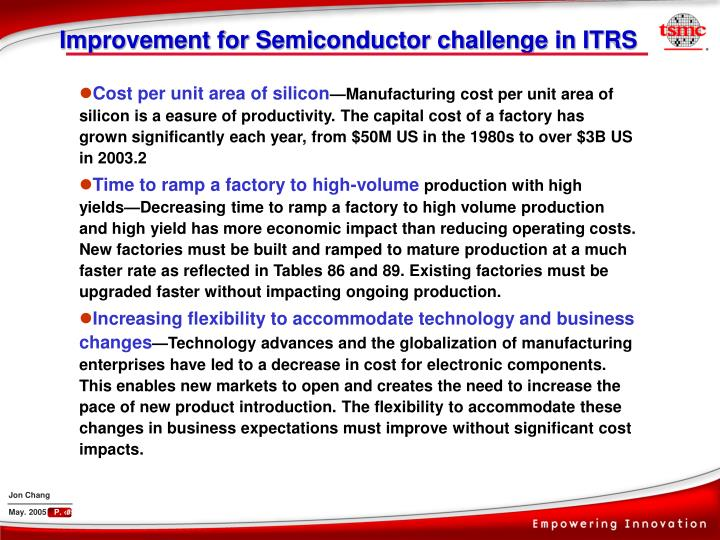 Improvement for Semiconductor challenge in ITRS