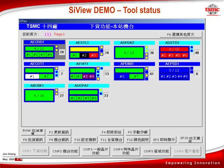 SiView DEMO – Tool status