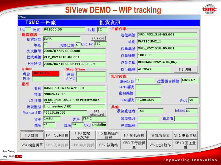 SiView DEMO – WIP tracking