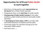 opportunities for letb and public health to work together