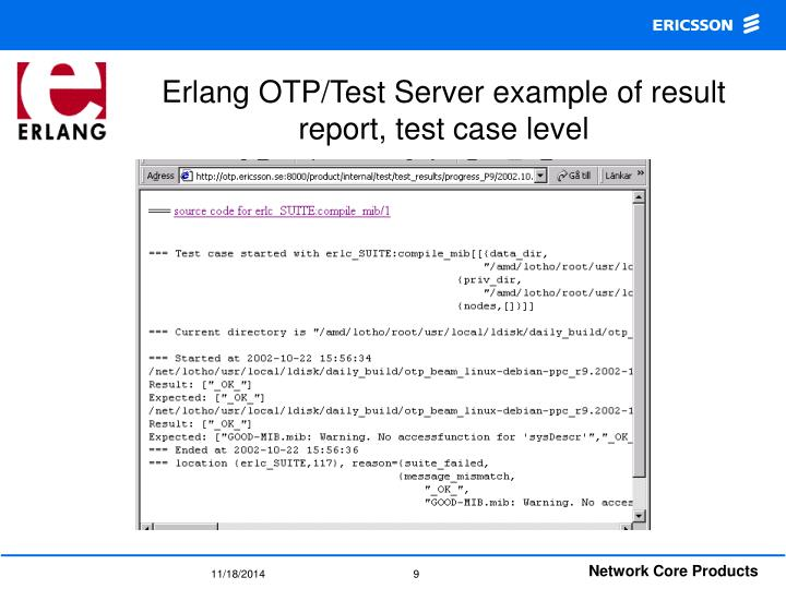 Erlang OTP/Test Server example of result report, test case level