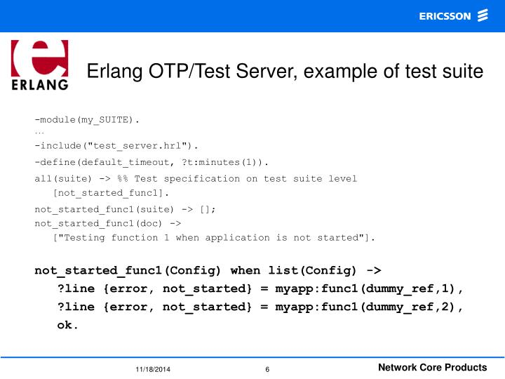 Erlang OTP/Test Server, example of test suite