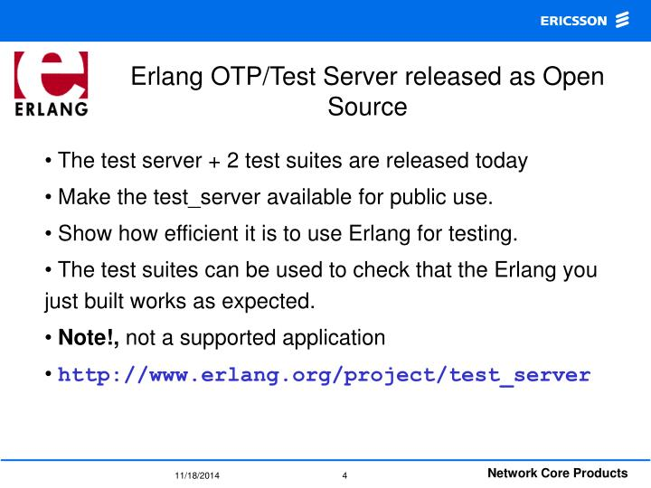 Erlang OTP/Test Server released as Open Source