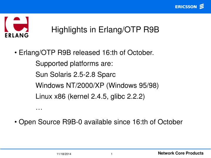 Highlights in erlang otp r9b