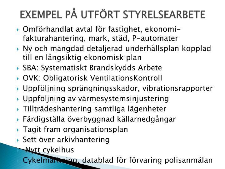 EXEMPEL PÅ UTFÖRT STYRELSEARBETE