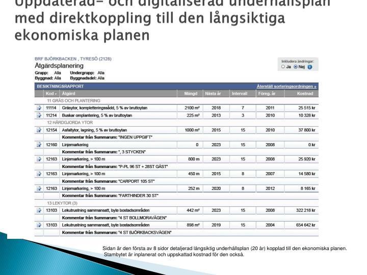 Uppdaterad- och digitaliserad underhållsplan med direktkoppling till den långsiktiga ekonomiska planen