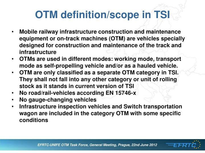 OTM definition/scope in TSI