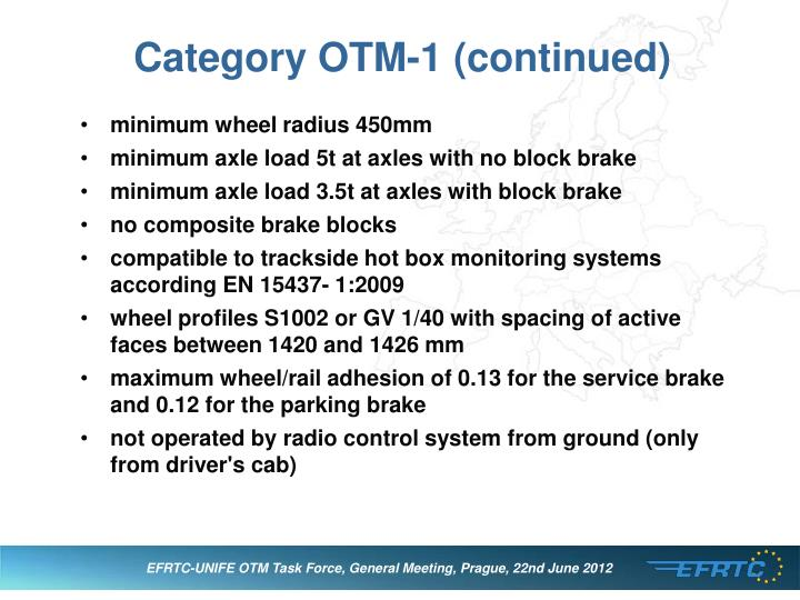 Category OTM-1 (continued)