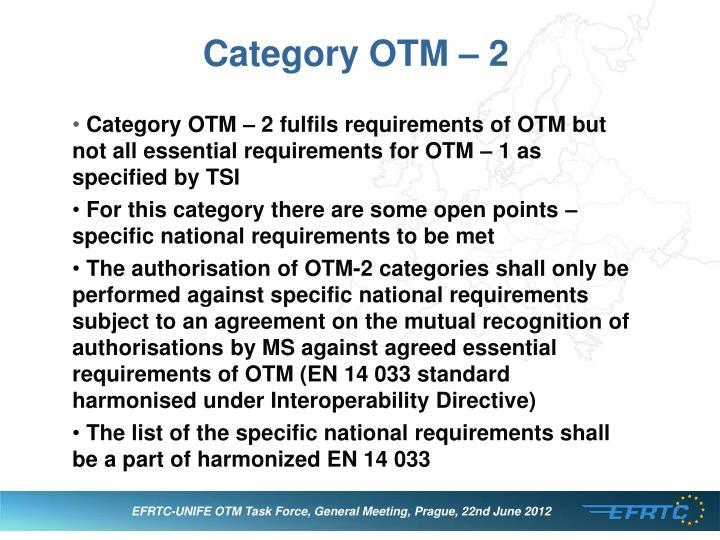 Category OTM – 2