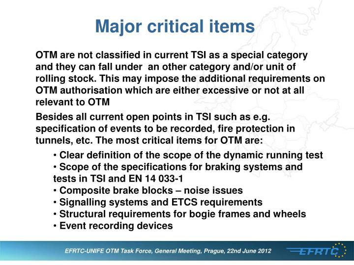 Major critical items