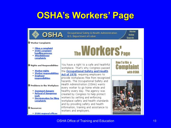 OSHA's Workers' Page