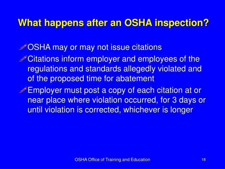 What happens after an OSHA inspection?