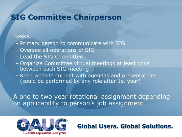SIG Committee Chairperson
