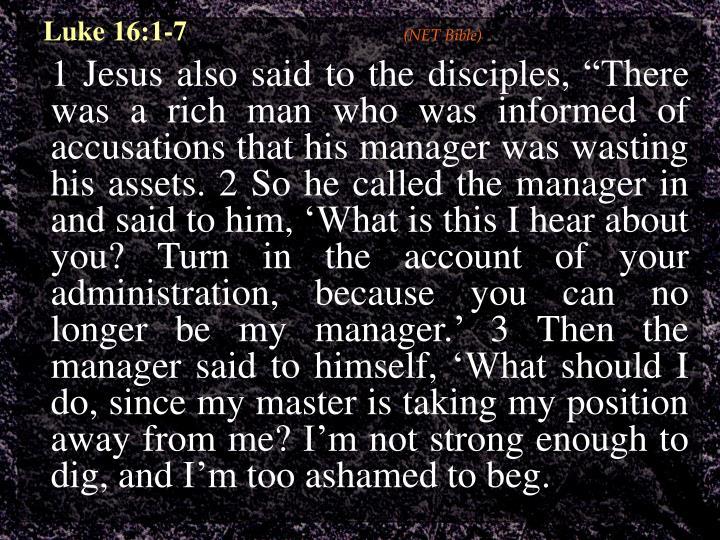 Luke 16:1-7