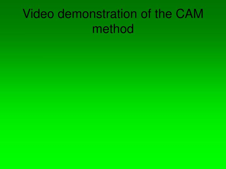Video demonstration of the CAM method